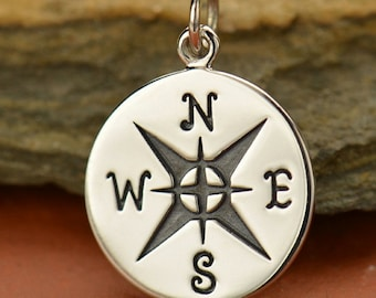 Compass Necklace - Large Solid 925 Sterling Silver Charm - Insurance Included