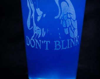 Doctor Who Weeping Angel Etched Pint Glass.