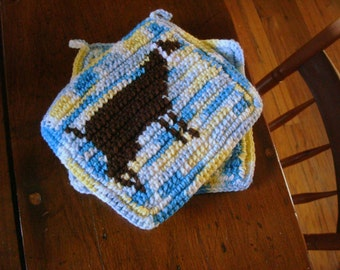Dairy Goat Potholders - Crochet Pot Holders, Potholders by Hoooked - Yellow and Blue Kitchen Decor - Goat Potholders MADE TO ORDER