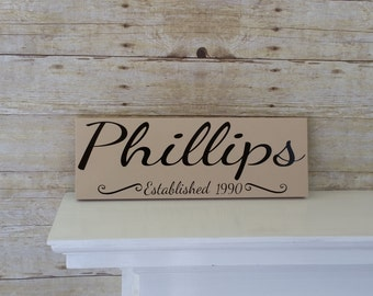 Custom Last Name Sign - Personalized Family Name Sign - Family Established Rustic Wood Sign - Wedding Gift - Housewarming Gift - Family Sign