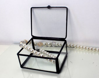 Clear Stained Glass Jewelry Box /Wedding Gift / Mother's Day Gift / Graduation / Teacher Gift