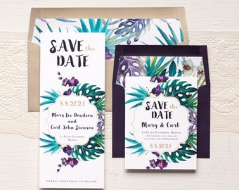 "Save the Dates, Gold, Plum Jewel Tropical Save the Date Cards, Destination Wedding, Envelope Liners - ""Jewel Tone Tropics"" Save the Dates"