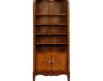 French Louis XV Style Antique Bibliotheque Bookcase w/ Clock c. 1900
