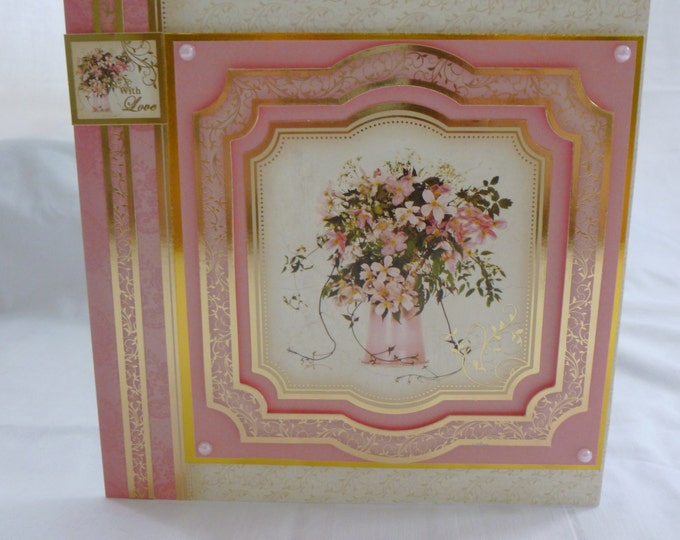 Floral Birthday Card, Greeting Card, Pink and Gold, Flowers in a Vase