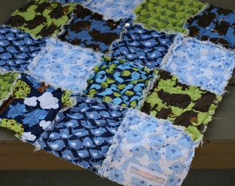 Ready to Ship Rag Quilt Lovey,  Perfect for baby boy, Blues, Greens and Brown Bears, fish, squirrels, trees, Handmade