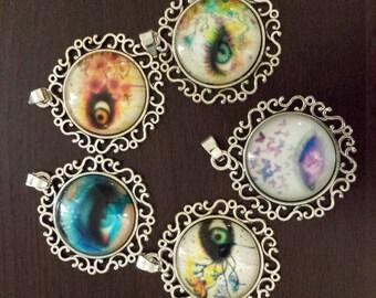 5 eye ball eyes glass cabochon pendants  destash  clearance #p19