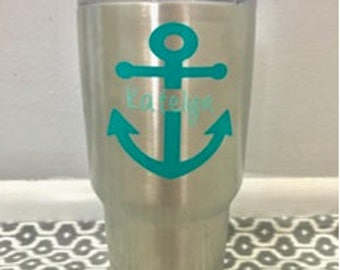 Personalized Anchor Decal - Vinyl Decal - Yeti Decal - Tumbler Decal - Gifts for Her - Summer Vacation - Beach - Back to School - Teacher