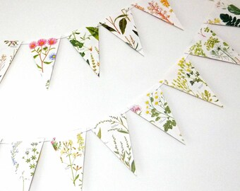 Wedding decoration, Wild Flower Bunting, Floral Garland, eco-friendly banner, upcycled paper bunting, wedding pennants
