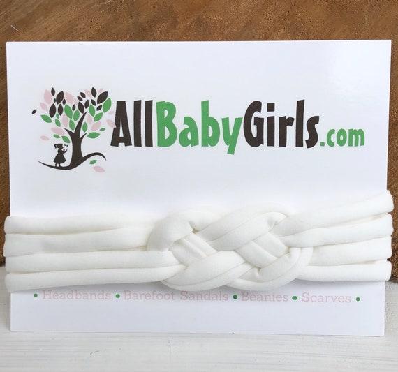 Knot Headband, White Headband, Baby HeadWrap, White Turban, Celtic Knot Headband, Sailor's Knot, Hair Wrap, Baby Headband, Baby Head Wrap