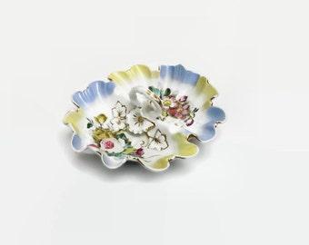 Divided Serving Bowl, Antique CT Germany Double Vegetable, Vintage Carl Tielsch Dish, Center Handle White Pink Blue, Rose Flowers, Gold Trim