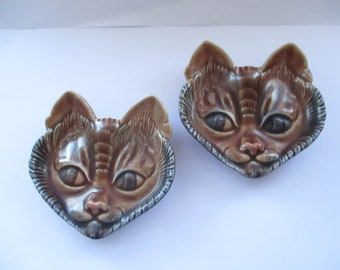 Pair of Wade Cat Face Pin Trays, Wade Pet Faces, Circa 1950s, Pin Trays, Cats Faces, Wade Porcelain, Made in England