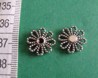set of 3 Silver Flower charms connector 14mm