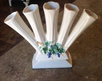 Vintage McCoy Antique Curio Art Pottery Finger Vase Planter #1608 Matte White Grapes