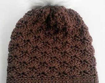 Light Brown Faux fur Pom Pom Toque handmade crocheted shell stitch
