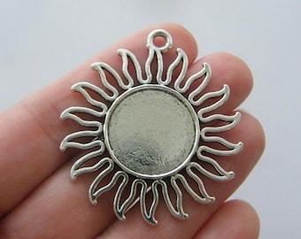 BULK 20 Sun frame cabochon pendants 46 x 42mm fits 20mm antique silver tone FS116