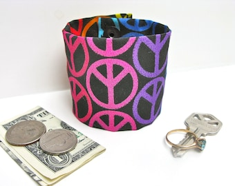 Secret Stash Money Cuff - Give Peace a Chance- Stash your cash, jewels, health info, house key in a secret inside zipper