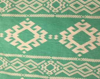 green aqua aztec jersey knit, aztec tribal cotton knit, aztec green teal jersey knit fabric, jersey knit fabric