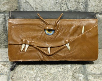 Monster Wallet Woman's Brown Black Leather Clutch Pocket Credit Card Holder One Of A Kind Mothers Day Gift