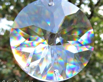 One Asfour 40mm Two Hole Sun Crystal Prism Disk 1041-40, Sun Catcher, Feng Shui Pendant, Jewelry Supply, crystal ornament