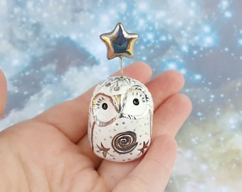 White Ceramic Fairy Owl Figurine with Silver Luster