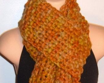 Hand Made Knit Hand Painted Wool Scarf CALENDULA yellow orange
