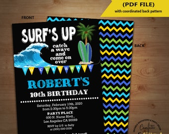 Surfboard invitation etsy surfs up birthday party invitation pool bash surfboard blue green chalkboard invite instant download you edit text print yourself 5758 solutioingenieria Gallery