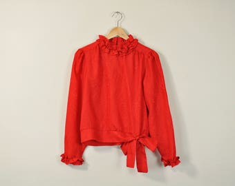 Ruffle Collar Blouse, Vintage 70s Blouse, Romantic Red Blouse, Red Secretary Shirt, Puff Sleeve Blouse, 70s Cropped Tie Waist Blouse