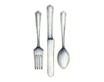 silverware watercolor giclee print - 8x10 // FORK, KNIFE, SPOON // kitchen art // wall decor
