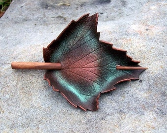 Brown Sycamore Leather Leaf Hair Cup