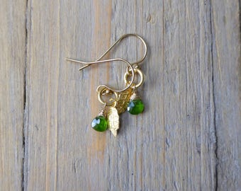Leafy Greens Chrome Diopside Gold Vermeil Earrings