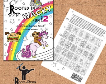 INSTANT DOWNLOAD Coloring Book -  Rooted In Wacky Fun, Part 2 - Coloring Print, doodle art, printable, Kawaii style