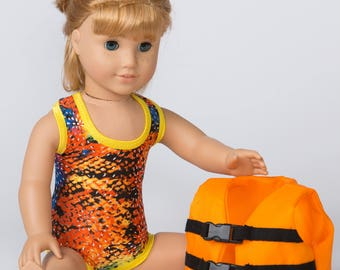 Let's Swim! Swimsuit and Lifejacket for 18-Inch Doll