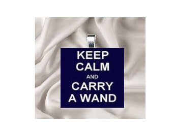 Pendant Necklace Keep Calm and Carry a Wand