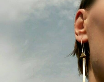 Long earrings with little triangle, feminine, handmade, unique, gold, plated,