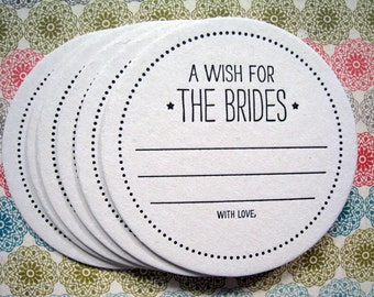 Letterpress Coaster Set - wish for the brides (set of 30)