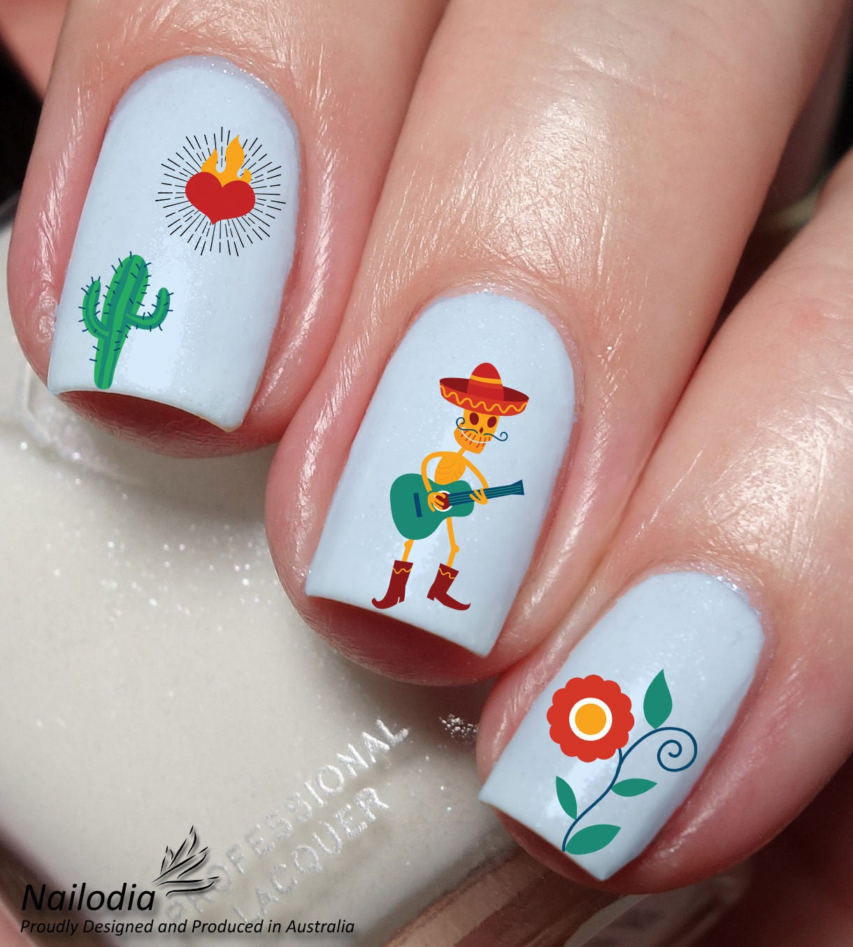 Mexican Theme Nail Art Sticker Water Transfer Decal 116