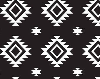 Stretchy Black Aztec Cotton Knit fabric