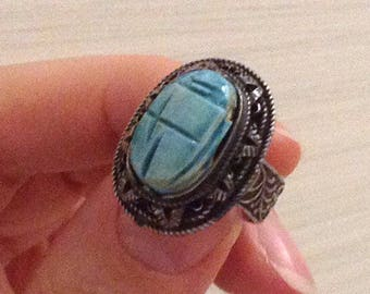 Vintage 800 Silver Authentic Faisance Scarab Egyptian Adjustable Ring Size 7.0 7.5 8.0 8.5