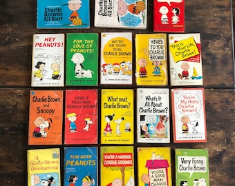 Lot of Eighteen (18) Different Peanuts Paperbacks / Charles Schulz / Charlie Brown / Snoopy / Lucy / Woodstock / Comics