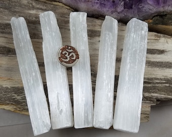 """Selenite Stick - Raw Selenite Wand - 5"""" - Selenite Crystal Wand - Chakra Cleansing Stones - Cleansing Crystals - Healing Stones and Crystals"""