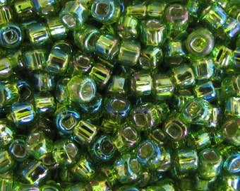 6/0 Lt Green Rainbow Silver Lined Seed Beads, 20  grams Seed Beads, Lt Green Seed Beads, #5866 Japanese seed Beads  Item  #431