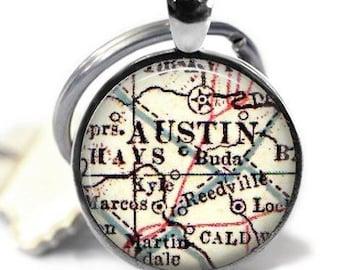 Austin map keychain, Texas keychain, vintage austin keychain, mens gift, friend gift, gift for him, gift for her, college keychain