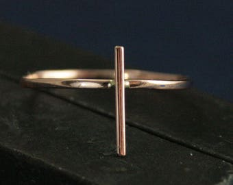 Cross Ring--Geometric Ring--Solid Gold Stacking Ring--Religious Ring--Religious Jewelry--Christian Jewelry--Catholic Jewelry--Teen Jewelry