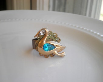 Vintage Swan Statement Ring - Filigree Lace Tea Time / Cocktail Bird Ring - Rhinestone Swan / Duck Nature Jewelry Retro Animal Gift For Her