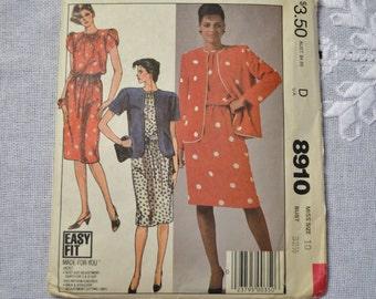 McCalls Sewing Pattern 8910 Misses Jacket and Dress 10 Fashion Clothing DIY Sewing  PanchosPorch