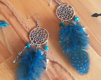 Earrings dream catcher Bohemian - ethnic with feathers and charms