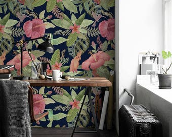 Parrot in Jungle removable wallpaper || Exotic Flowers and Birds Pattern || Tropical decor || Peel and stick Wallpaper #154