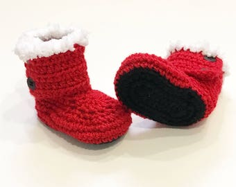 FREE SHIPPING! Santa Baby boots, crochet baby boots, babys first christmas
