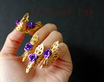 Purple Gothic Rose Cat Claw Gold finger tip (1 ring or Set of 5) Adjustable Armor Ring Fairy or Elven Armor,Gothic Princess,pixie cosplay