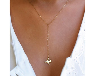 ORIGINAL Airplane Gold or Silver Lariat Necklace, Travel Inspired Jewelry, Airplane Necklace, Pilot Necklace, Traveler, Wanderlust Jewelry